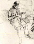 Young man with the book. Sketch