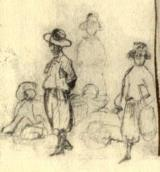 Group of villagers. Sketch