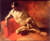 Sitter on red fabric