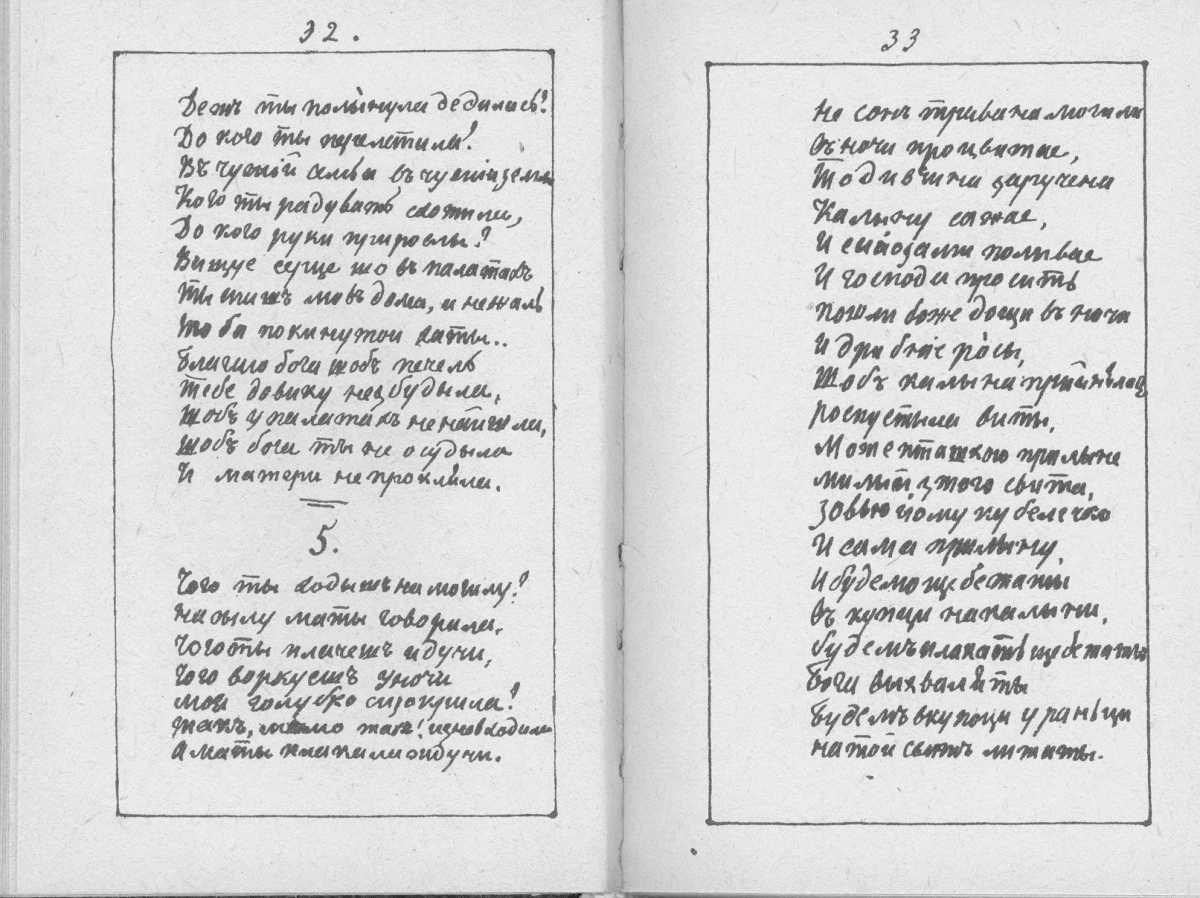«Мала книжка» Т. Шевченка. С. 32 – 33…