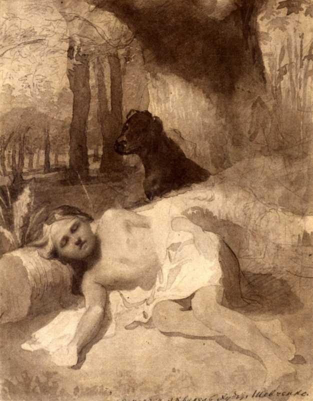 Тарас Шевченко. Мальчик с собакой в лесу