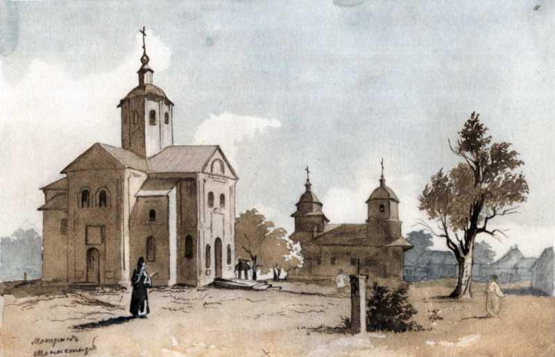 Троїцька церква Мотронинського монастиря на малюнку Тараса Шевченка