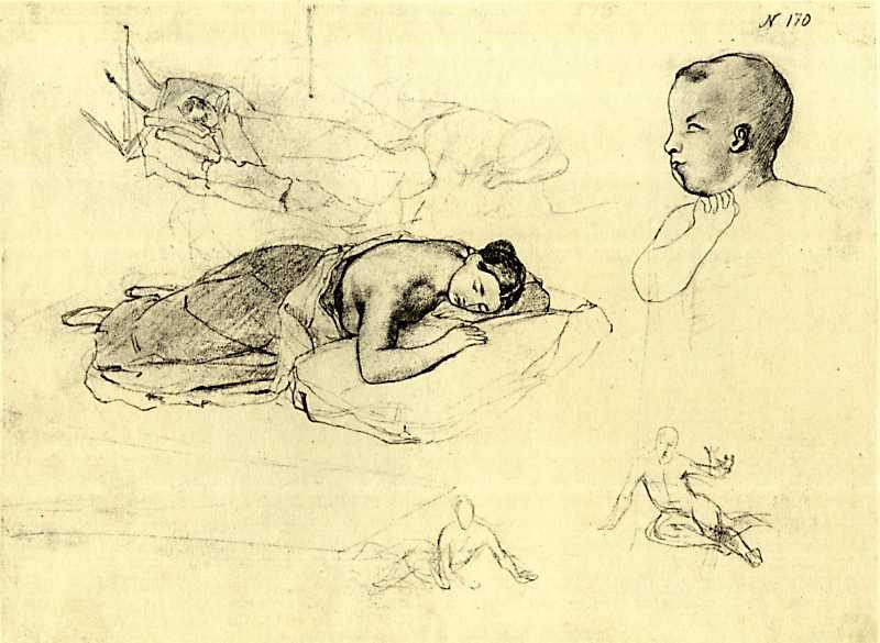 Тарас Шевченко. Спящая женщина. Этюд