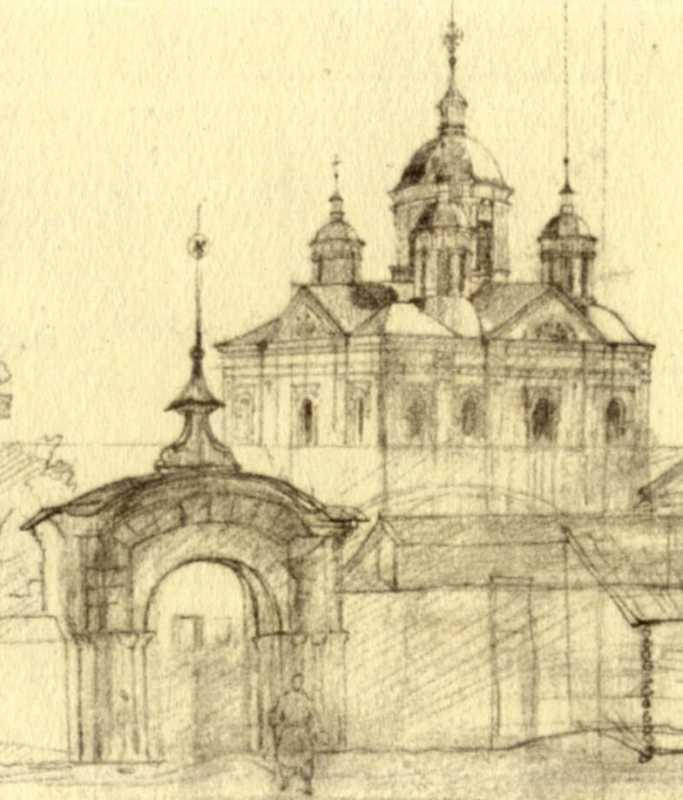 Тарас Шевченко. Ворота и Спасский собор