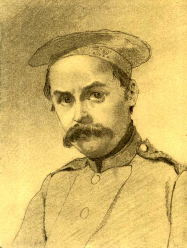 Taras Shevchenko. Self-portrait. [Orsk]. [23.VI - XII in 1847]. Paper, pencil (12.7: 9.9 inches).