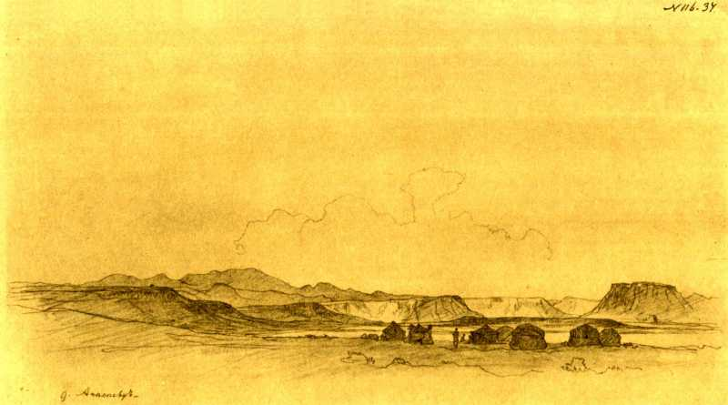 Тарас Шевченко. Вид на горы Ак-Тау из…