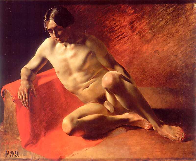 Taras Shevchenko. Sitter on red fabric