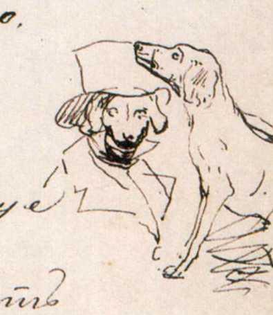Taras Shevchenko. Man with a dog. Sketch